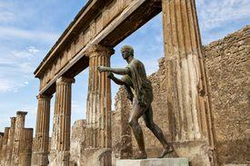 The statue of Apollo at his temple in Pompeii