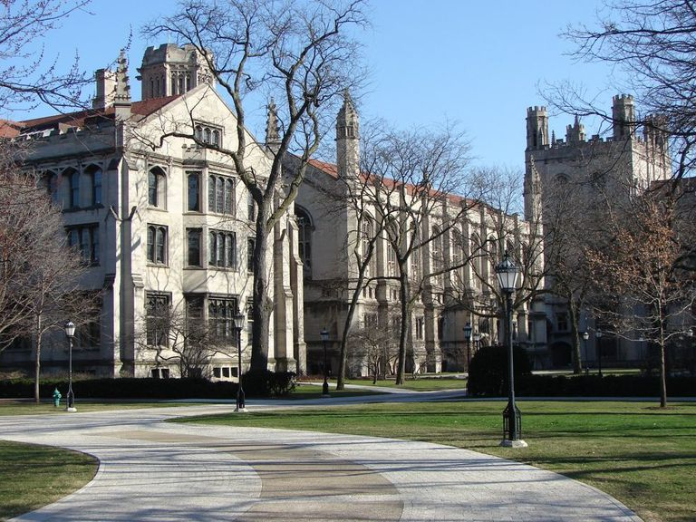 The University of Chicago on sunny day in wintertime.