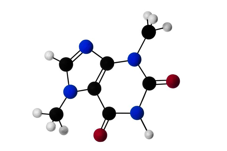 Molecular ball and stick model of the theobromine molecule
