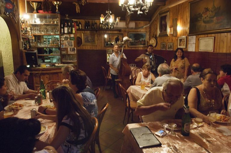 Dining in a restaurant in Trastevere in Rome