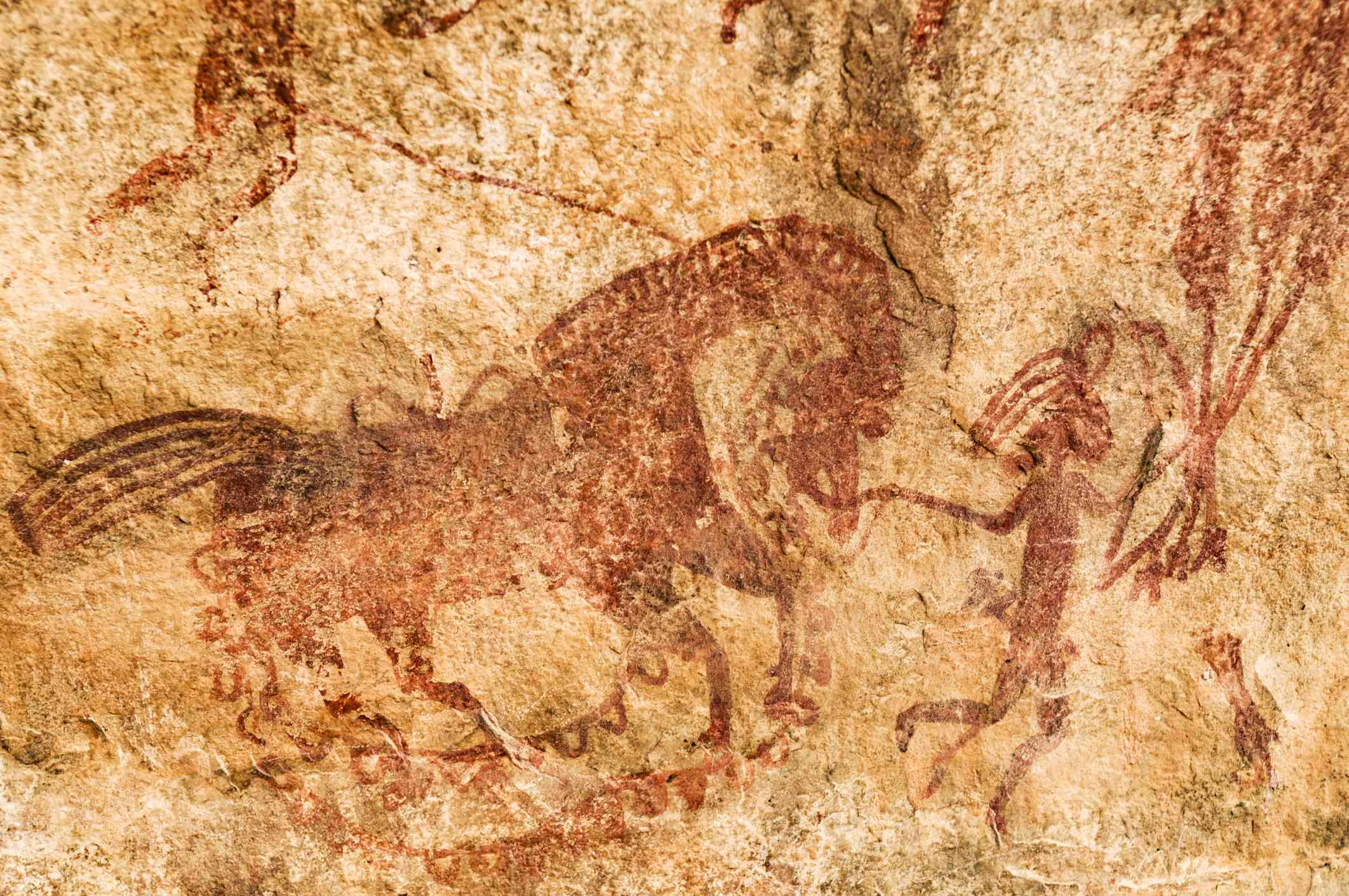 Cave painting from the upper paleolithic age