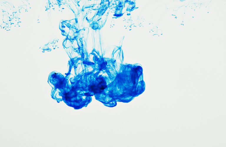blue ink suspended in water