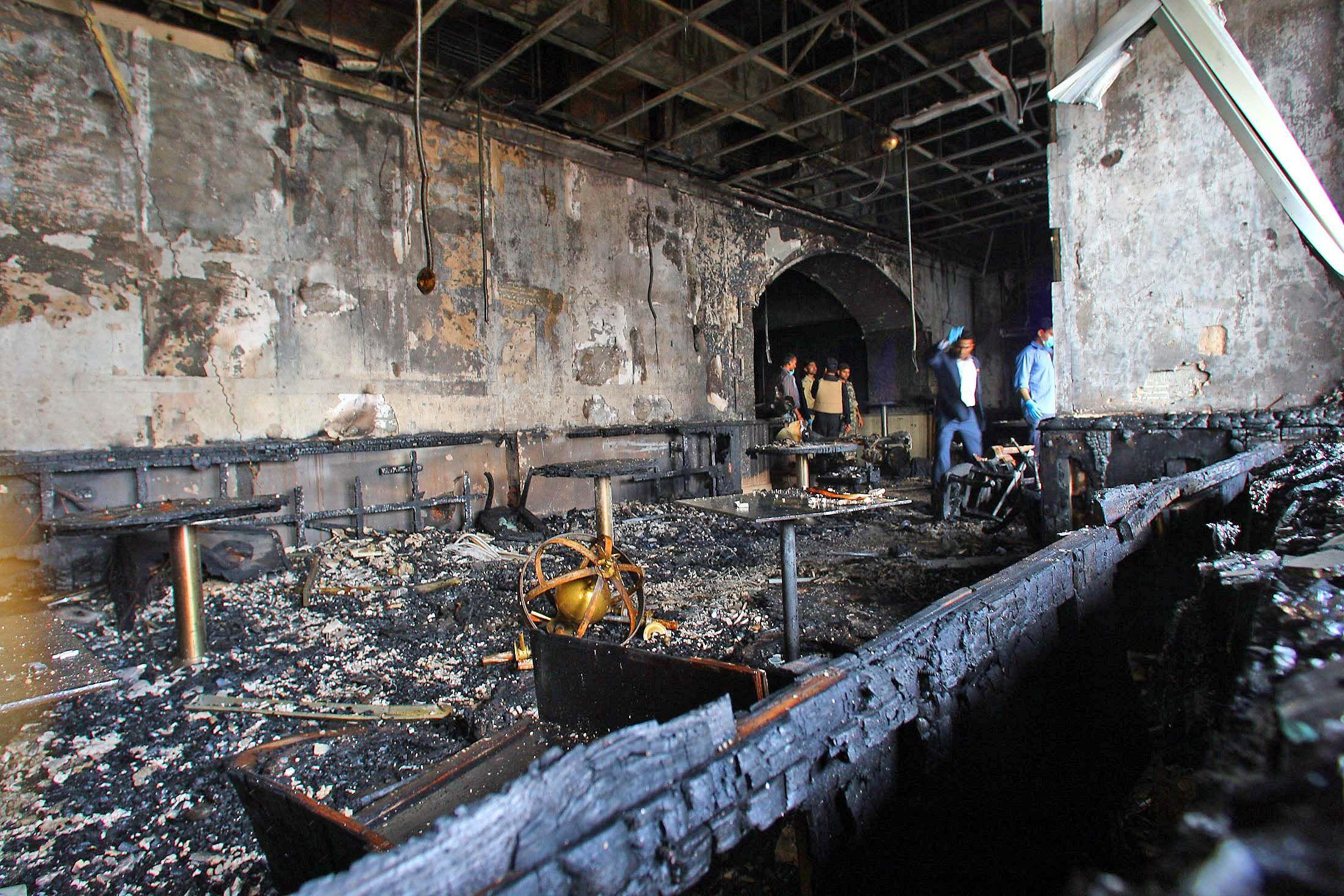 Fire Damage at the Taj Mahal Palace Hotel in Mumbai India