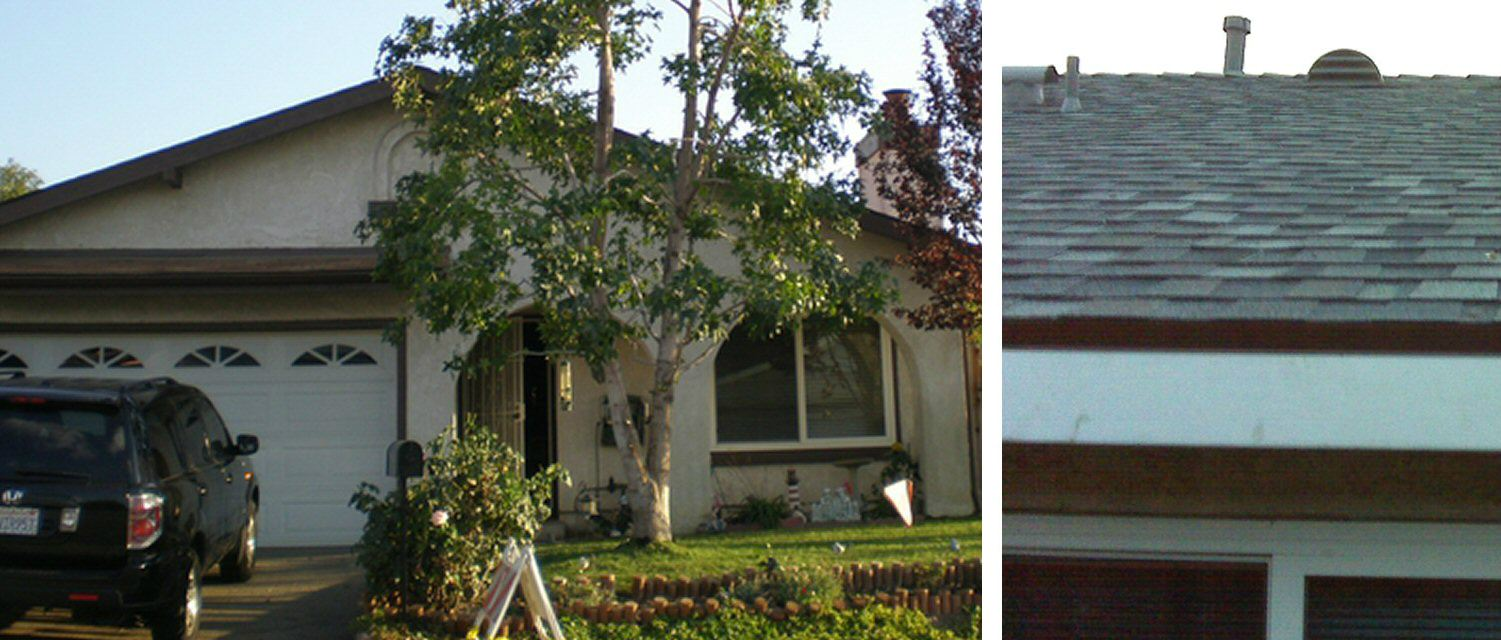 Homeowner's stucco house with a new, grey roof
