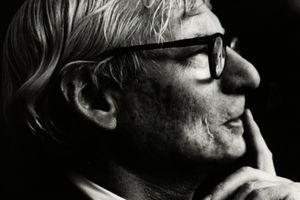 Black and white photo of architect Louis Kahn