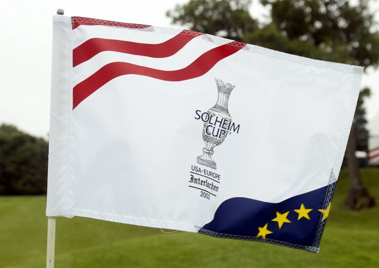 The Solheim Cup logo flies from a flagstick during the 2002 matches