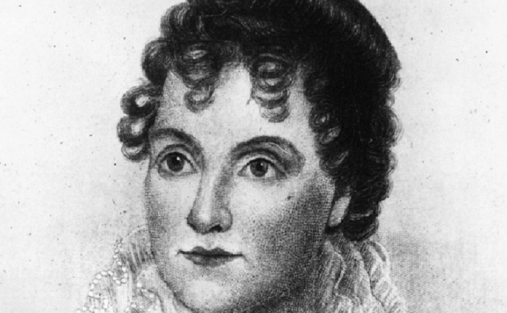 Black and white drawing of Hannah Hoes Van Buren.
