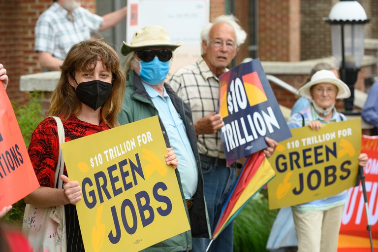Demonstrators from the Sierra Club, Workers For Progress, Our Revolution, and the Chesapeake Climate Action Network picket in front of the office of US Senator Shelley Moore Capito.