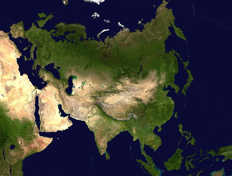 Satellite image of the Eurasian landmass