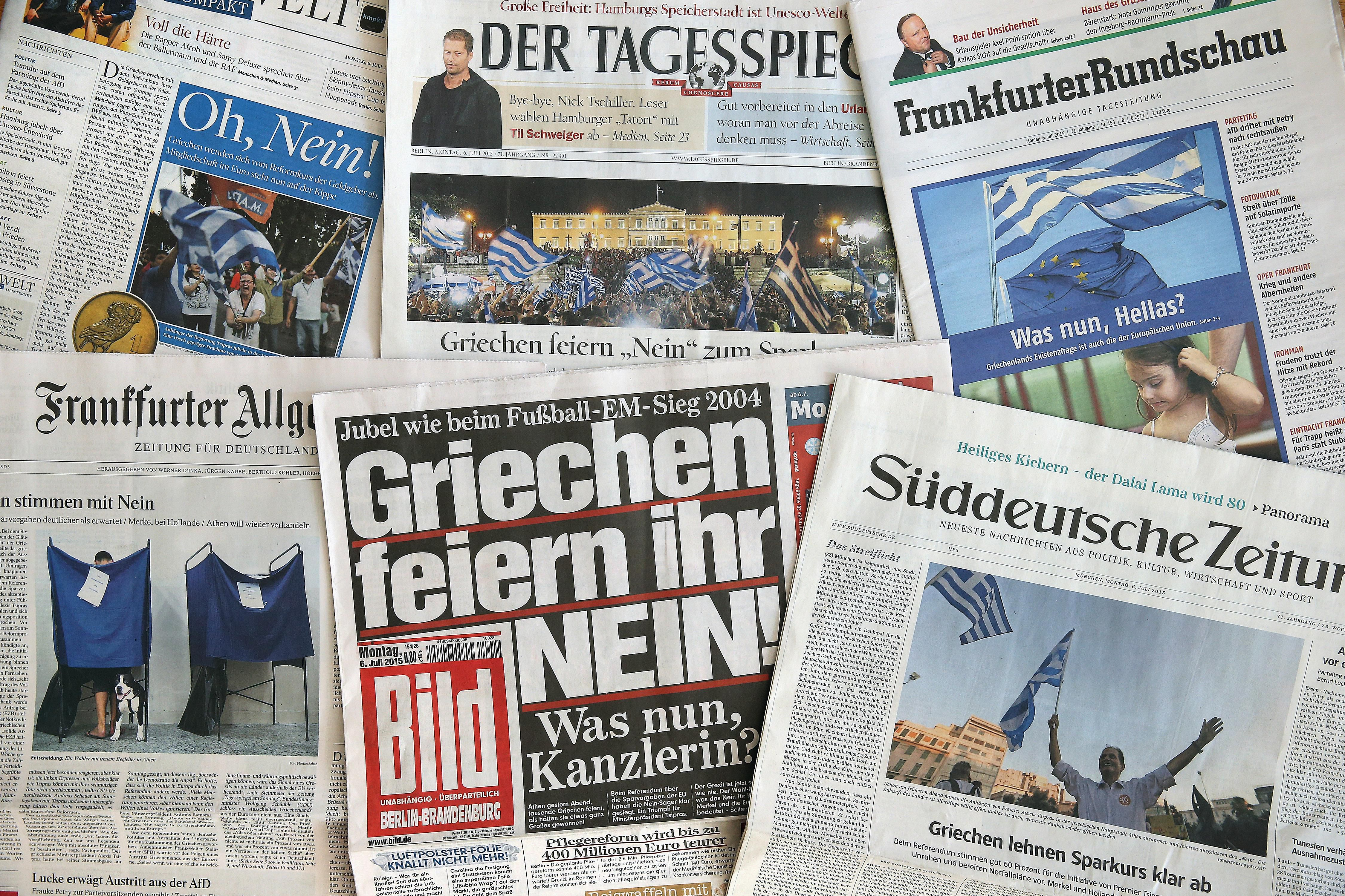 A collection of German newspapers.