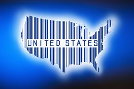 Outline of united states with barcode, studio shot