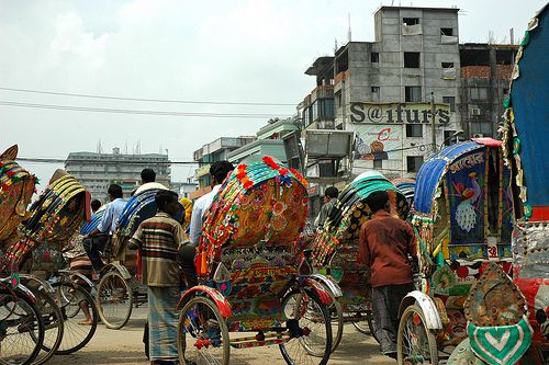 Rickshaws are efficient transport in crowded cities