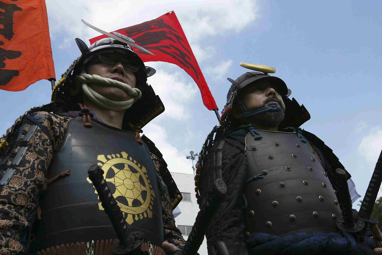 Samurai re-enactors looking stern, Tokyo, 2003