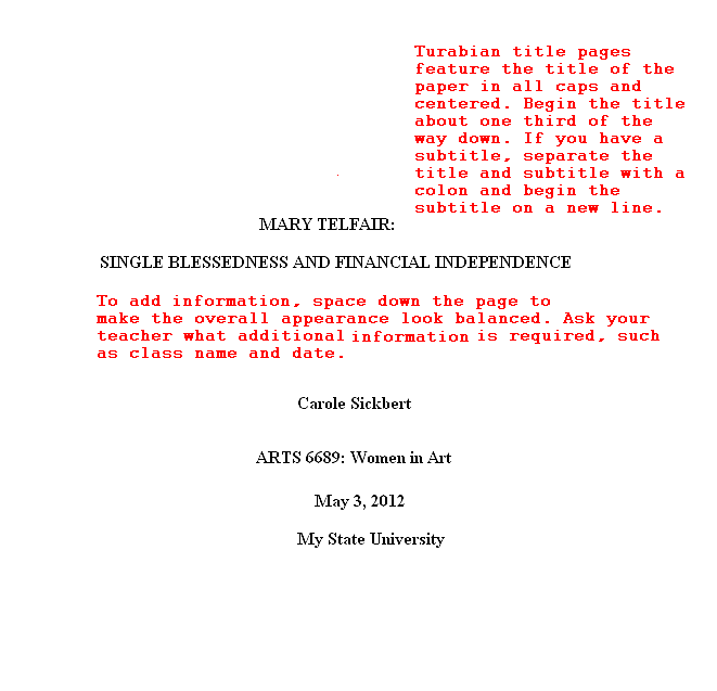 turabian format title page