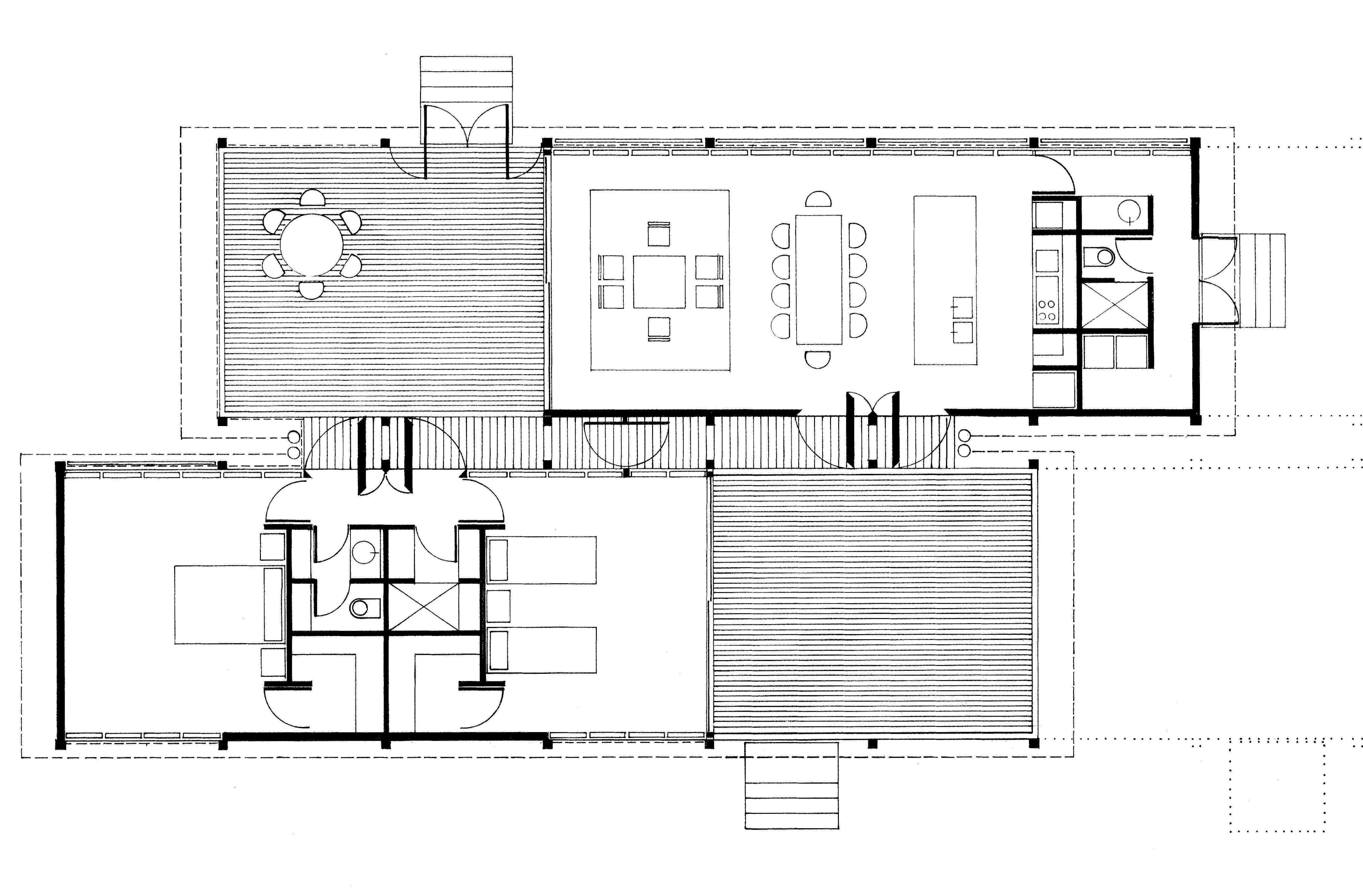 Floor plan of original 1975 Marie Short house designed by Glenn Murcutt