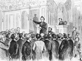 Thaddeus Stevens speaking at President Johnson's impeachment trial