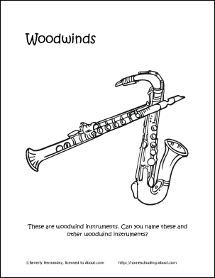 Woodwind Instruments Coloring Page