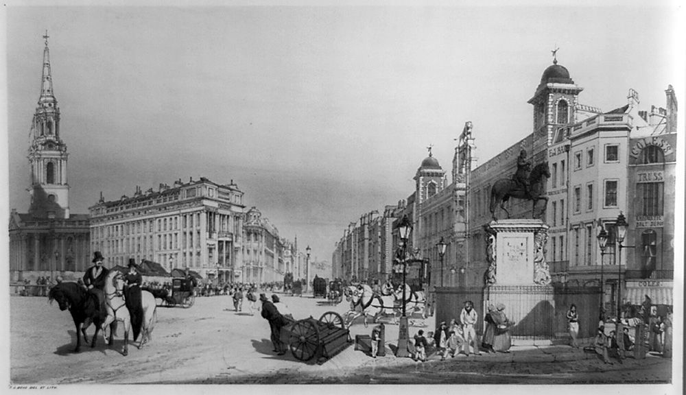 Entry to the Strand from Charing Cross, Illustration showing people in London street, 1841