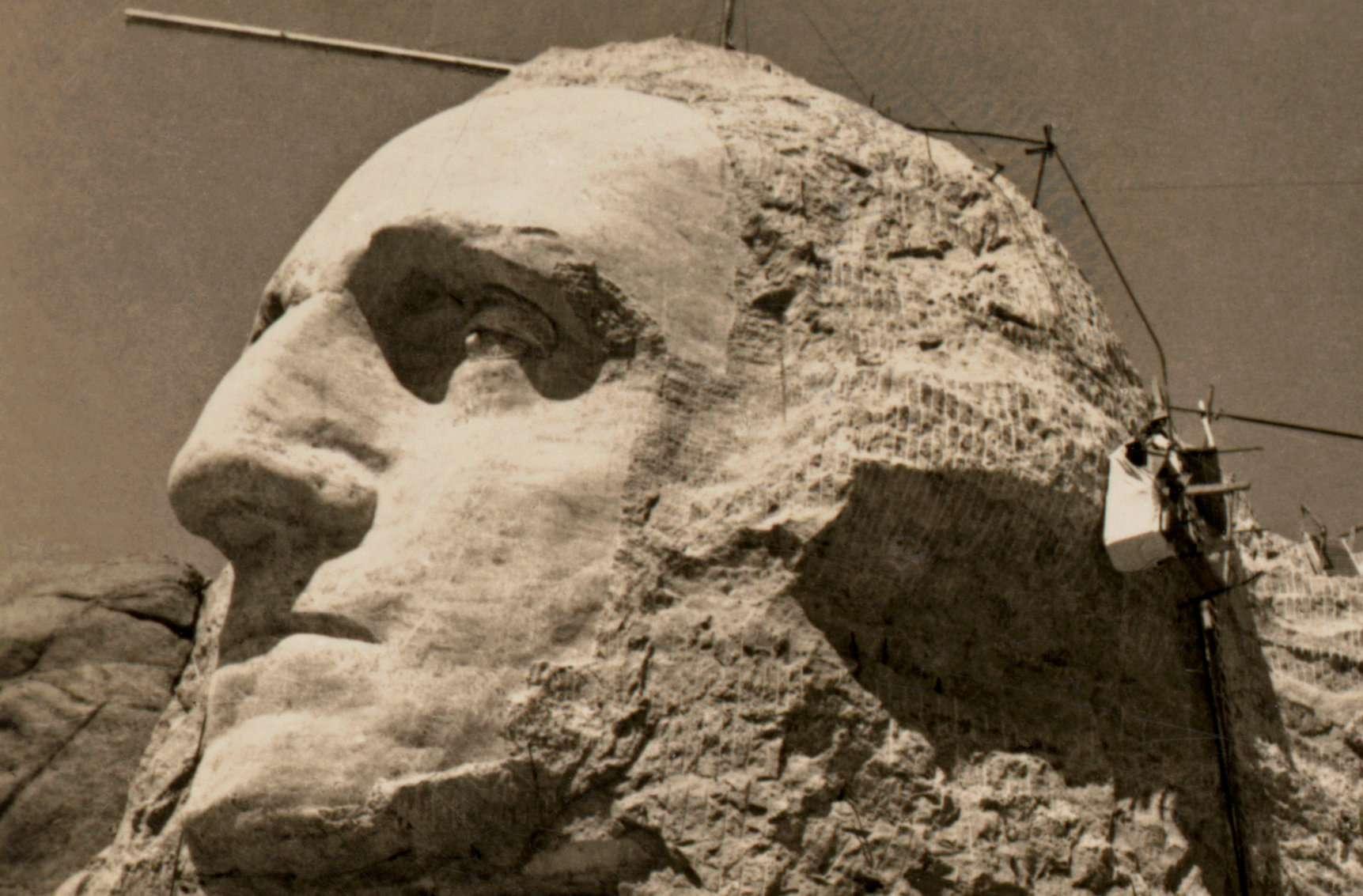 Washington's face under construction at Mt. Rushmore