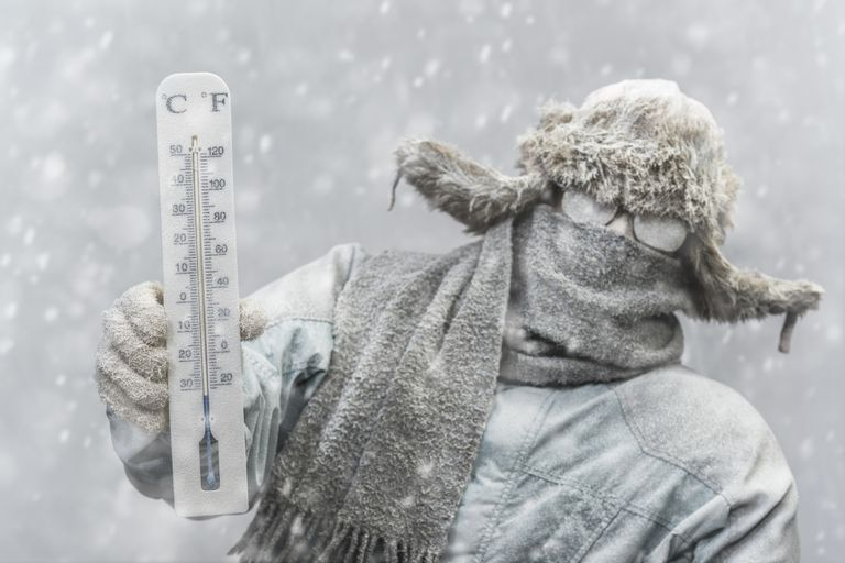 Bundled up man in a snowstorm holding up a thermometer