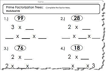 Factor Tree Worksheets