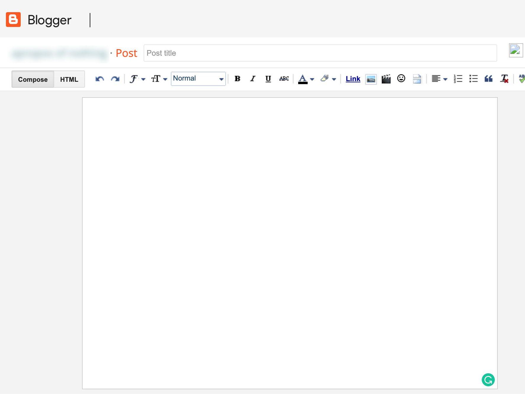 Blogger's Compose window