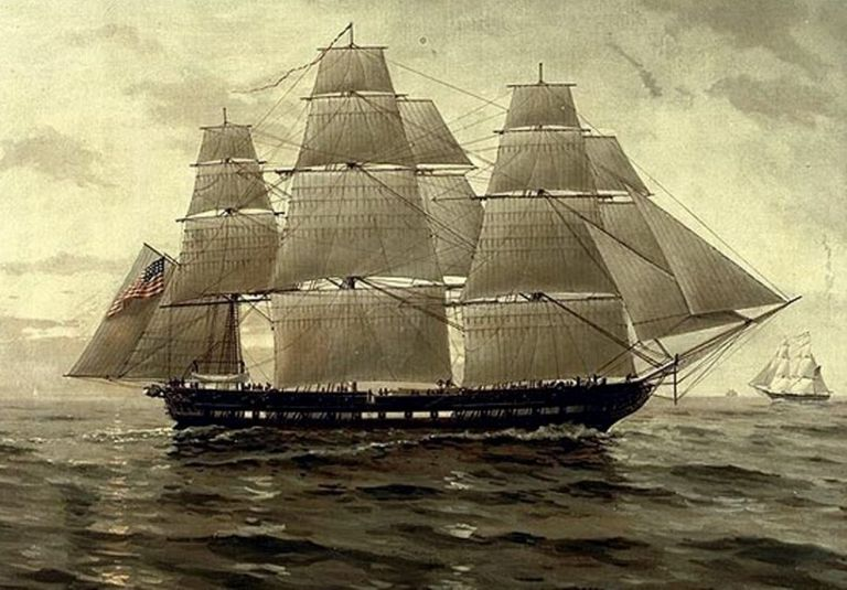 USS Chesapeake under sail