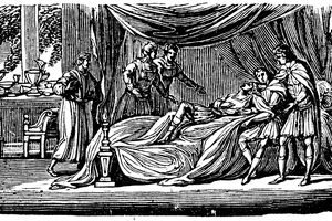 Illustration of Alexander the Great on his deathbed, 1830.