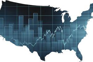 Stock Market Chart Over United States