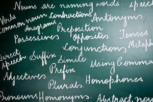 English grammar written on chalkboard