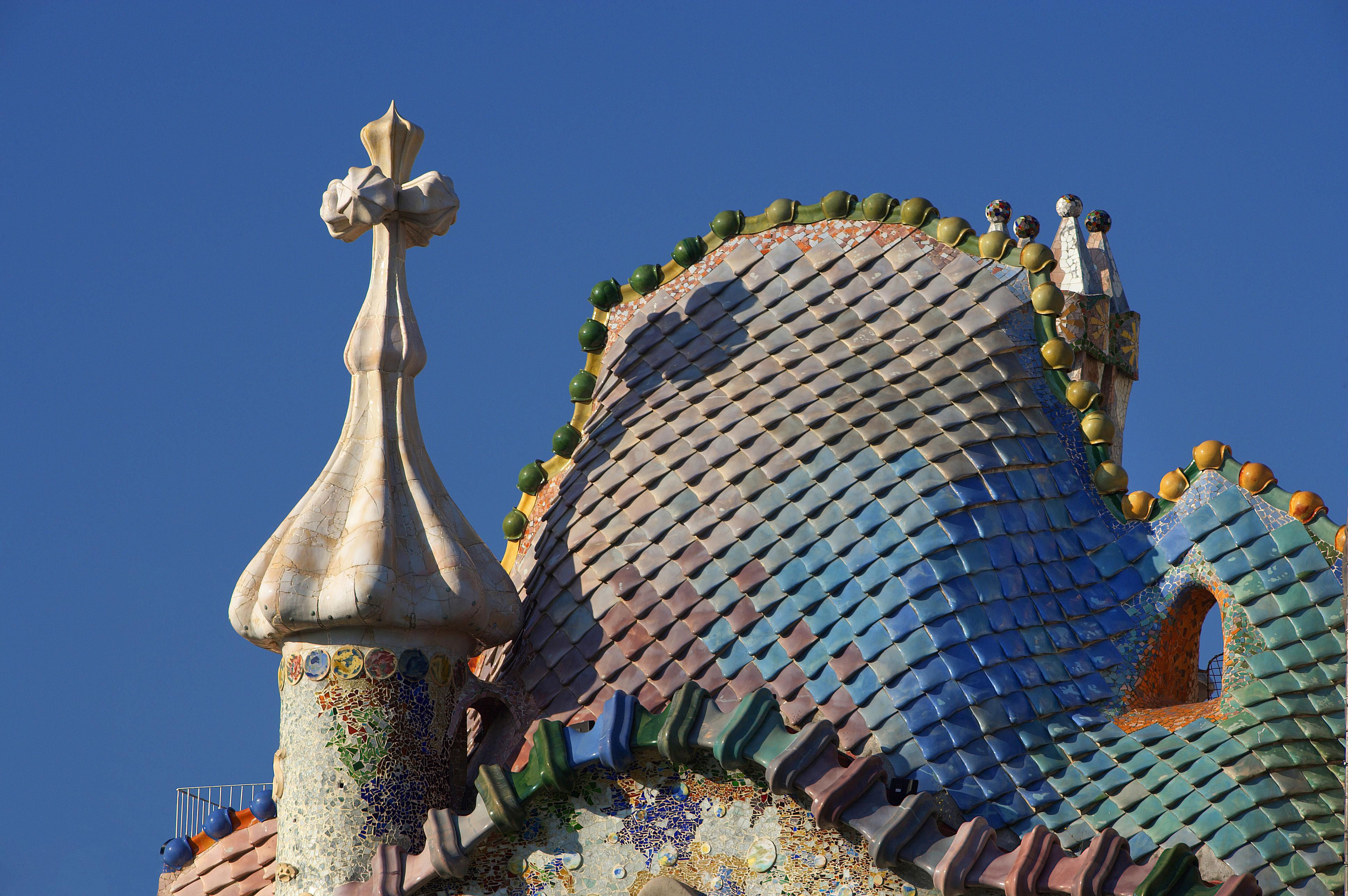Gaudi-design roof with tiles of the Casa Batllo in Barcelona.