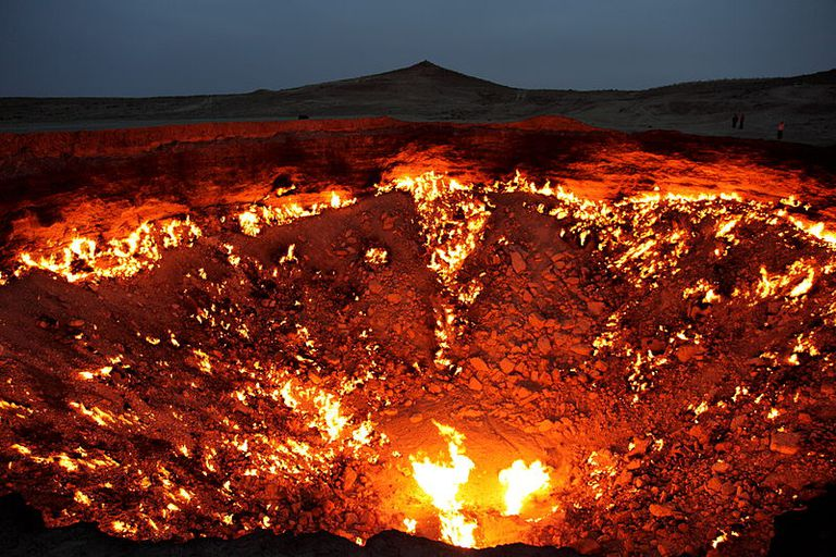 "Photo of Turkmenistan's ""Door to Hell,"" a natural gas fire in the Karakum Desert."