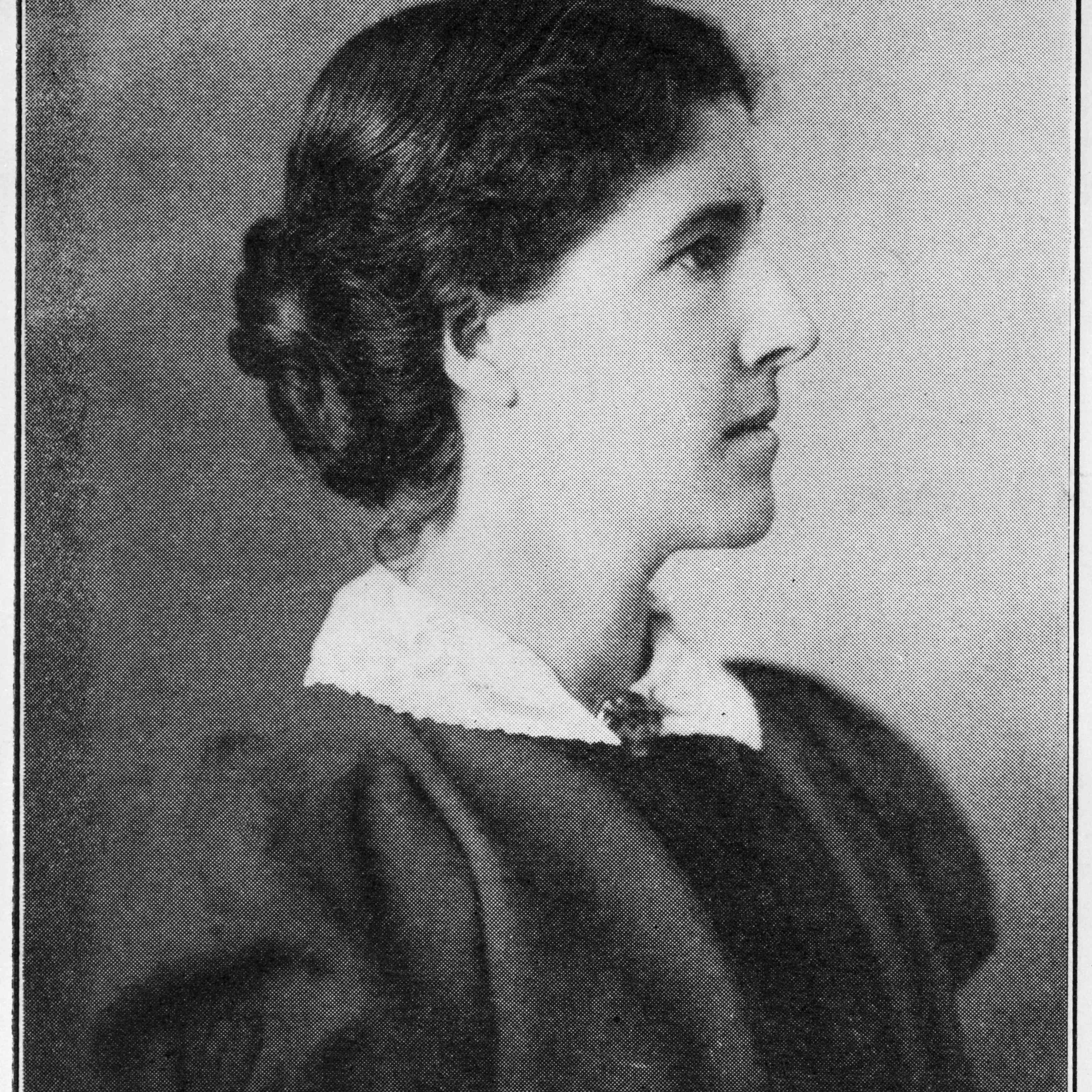 Profile portrait of Charlotte Perkins Gilman