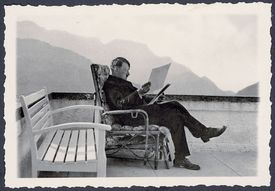 Adolf Hitler at the Patio of the Berghof