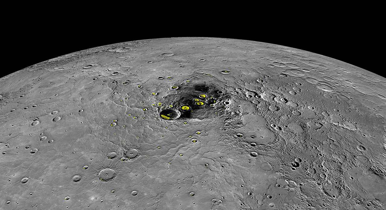 Water ice in craters on Mercury.