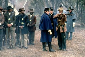American actors Morgan Freeman, Andre Braugher and Matthew Broderick on the set of Glory, based on the book by Lincoln Kirstein, and directed by Edward Zwick