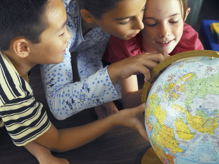 Kids looking at a globe