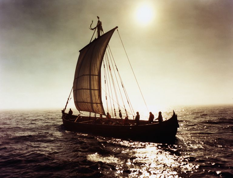 Viking ship in full sail on the Labrador Sea