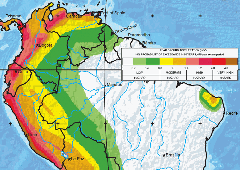 Major earthquake zones on each continent south america map north half publicscrutiny Image collections