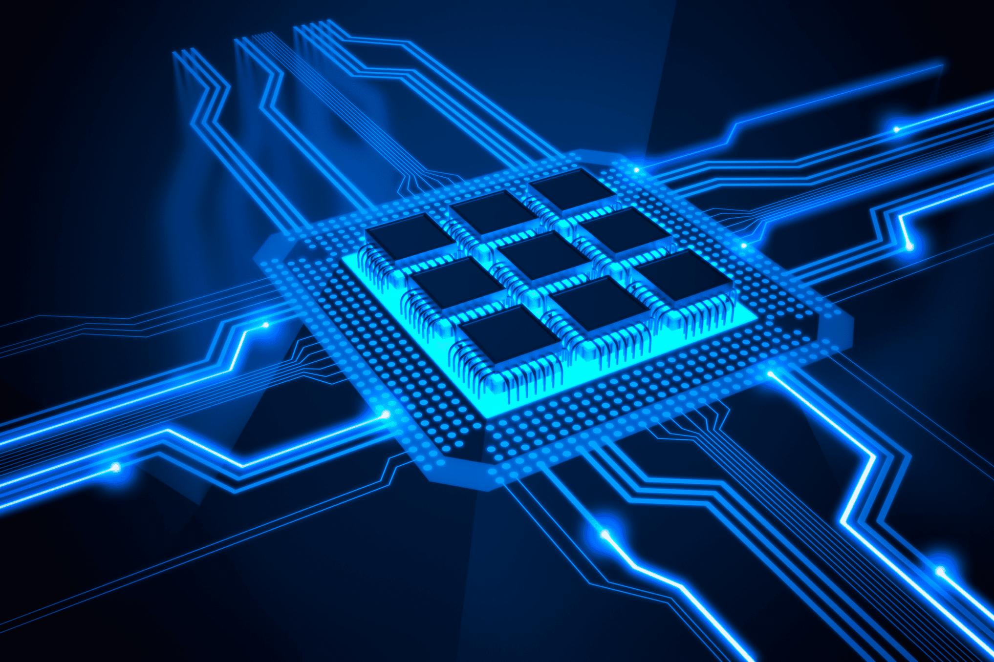 Blue microchip illustration