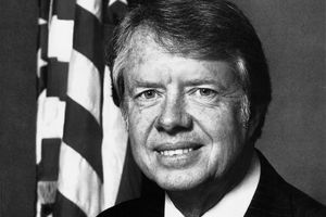 A formal portrait of President Jimmy Carter in the 1970s.