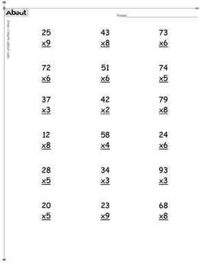 Multiplication worksheets 2 and 3 digits. Timestables 2 and 3 ditit ...