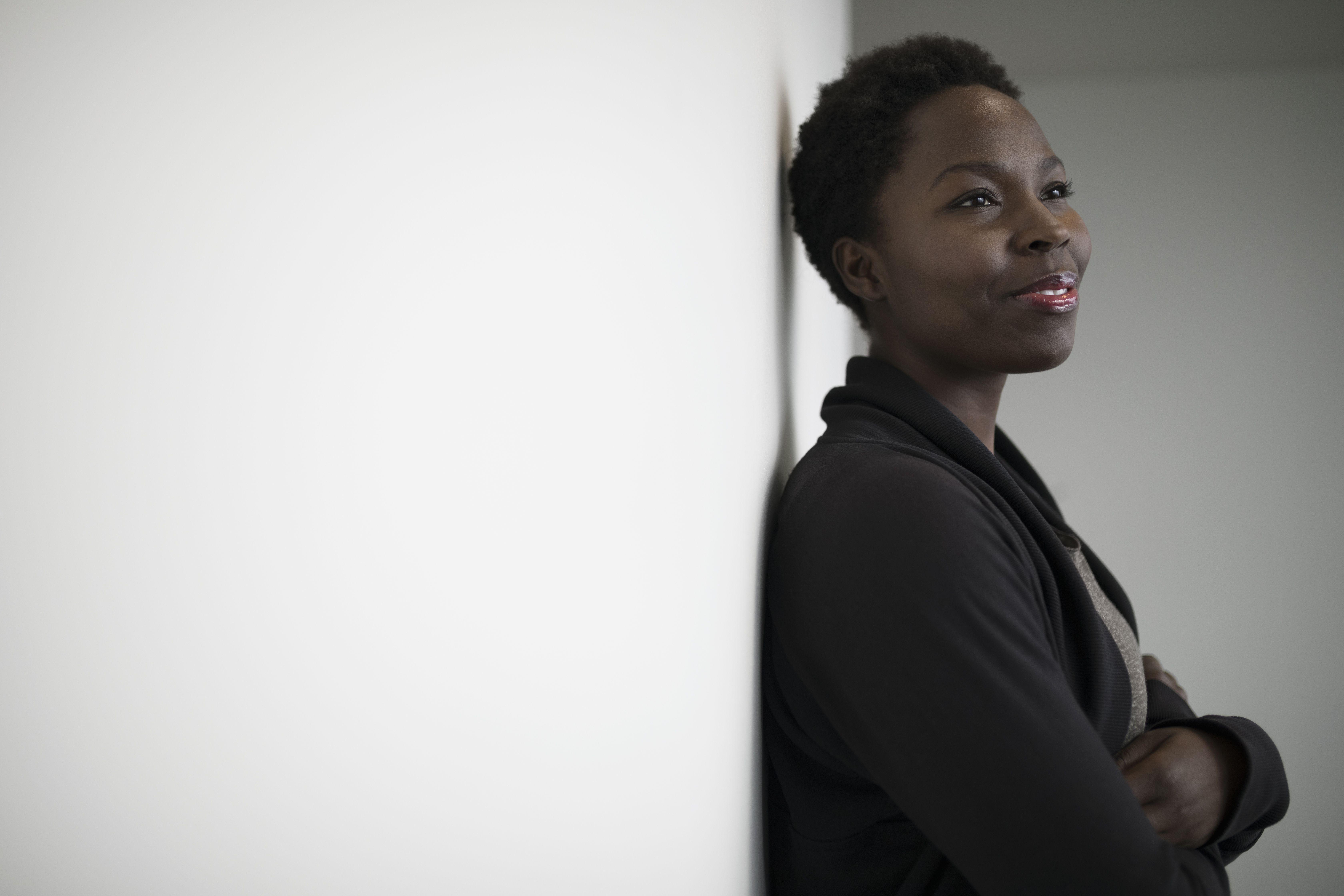 Portrait confident, ambitious, forward looking woman