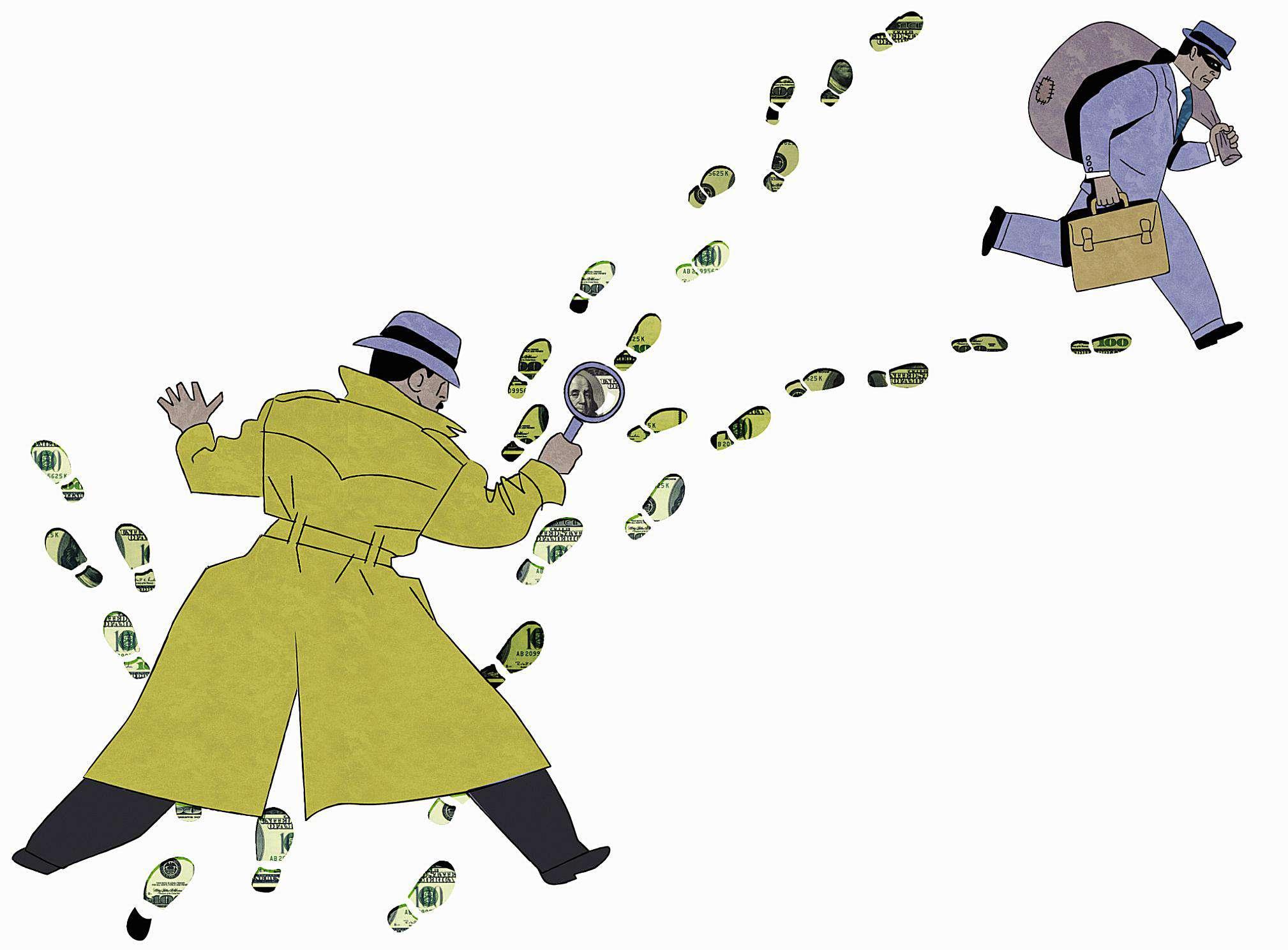 Caricatura de detective persiguiendo a ladrón