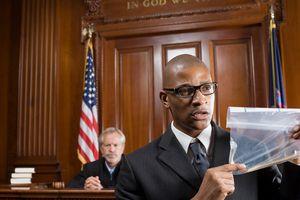 Lawyer holding up evidence.