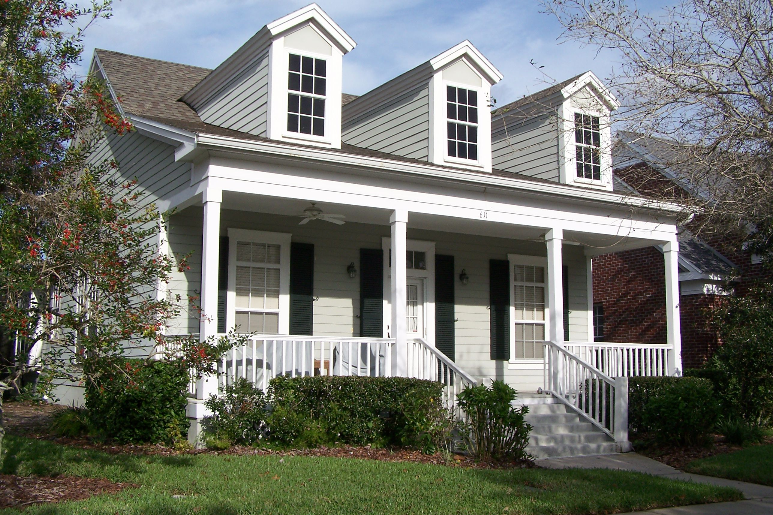 Three front dormers over front porch