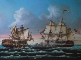 Naval battle between the USS Constitution and the HMS Guerriere, August 19, 1812
