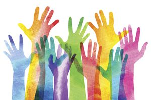 Overlapping silhouettes of Hands in a watercolor texture