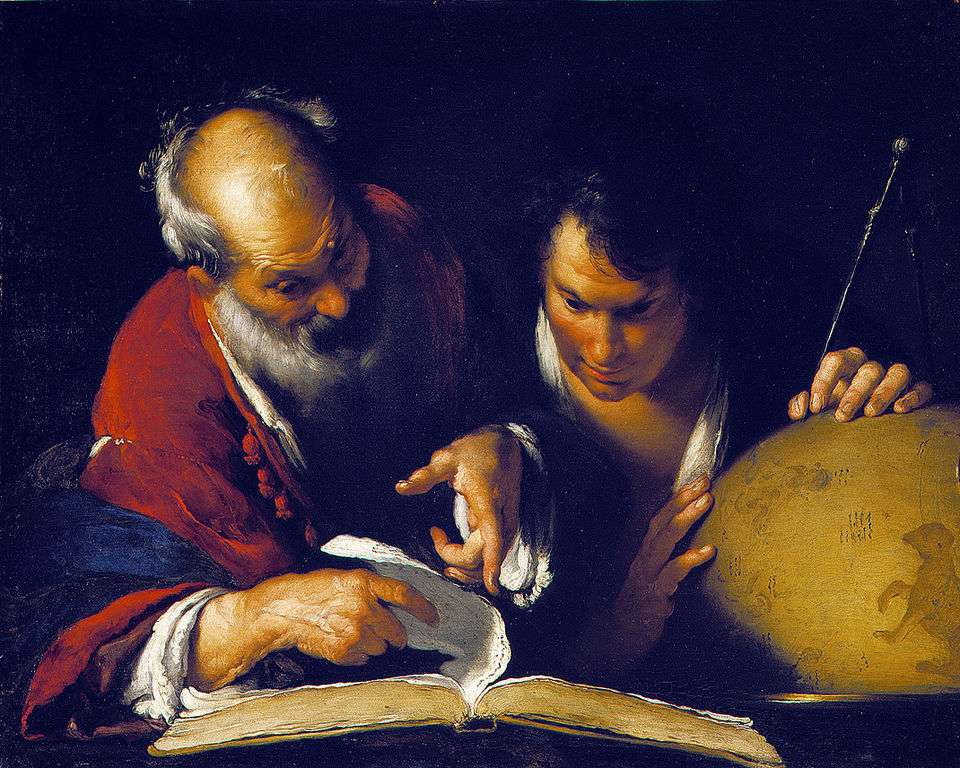 Eratosthenes teaching in Alexandria painting by Bernardo Strozzi