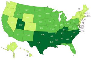 A 2011 survey map of religiosity shows the bible belt in dark green, stretch from Texas to N.C.